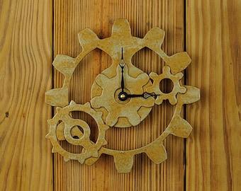 Steampunk Gear Clock - Industrial Gear Clock - in Tarnished Brass