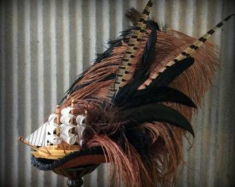 Brown Mini Pirate Ship Hat, Tricorn, Marie Antoinette hat, Mini Tricorn, Pirate wedding hat, Lolitta, Roccoco hat, STeampunk ship