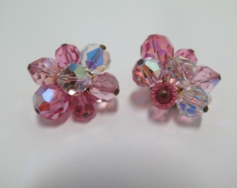 Hattie Carnegie Pink and Clear AB Clip Earrings