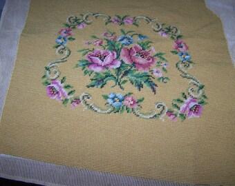A Vintage Hand Stitched Floral Tapestry Sampler For Your DIY Project