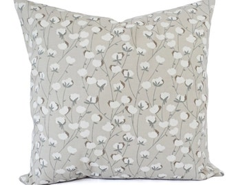 Two Decorative Pillow Covers - Warm Grey Pillow Covers - Floral Pillow Cover - Modern Pillow Sham - Accent Pillow - Grey Couch Pillow Case