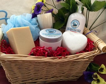 Special Goat Milk Spa Set - lotion, soap, body butter, bath fizzy, soy candle