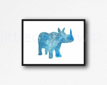 Blue Rhino Rhinoceros Watercolor Animal Art Rhino Art Print Animal Watercolour Art Print Watercolor Painting Watercolour