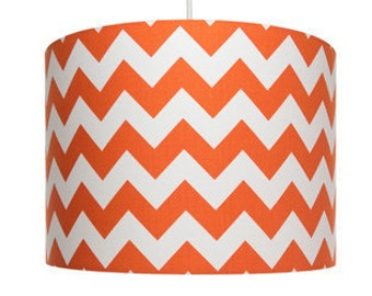 Orange and white Chevron Fabric, Riley Blake, Cotton Drum Lampshade
