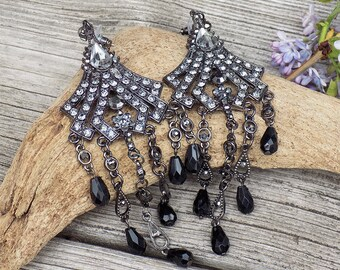 long black Chandelier Rhinestone Earrings