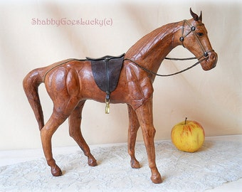 Vintage real leather horse toy, light brown leather horse with glass eyes & leather saddle