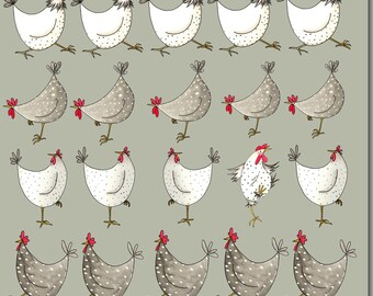 Multi Chicken Greeting Card - Birthday Card, Blank Inside, Barnyard