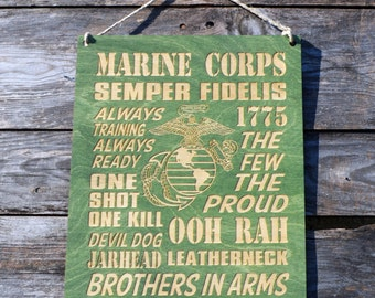 Original O.D. Green USMC Wooden Engraved Wall Hanging, Engraved Wall Decor, Rustic Marine Corps Sign