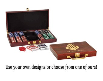 Personalized Rosewood 300 Chip Poker Game Gift Case Set, Custom Wedding Gifts, Custom Men's Gifts