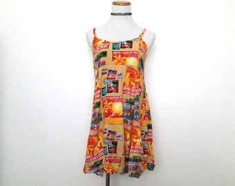 Orange hawaiian print dress