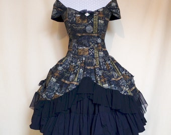 Sew Vintage...Goth Lolita Steampunk Bustled Corset Dress With Black Cotton 4 Tier Petticoat Mid Length