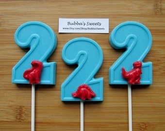 """Number TWO """"DINOSAUR"""" Chocolate Pops (12) - (1-9 Available!) T-REX Favors/Dinosaur Favors"""