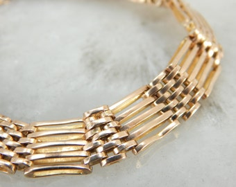 Gate Link Style Vintage Bracelet in Yellow Gold E6NH27-P