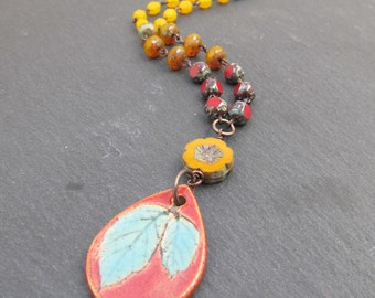 Autumnal leaf pendant, beaded autumn necklace, fall necklace, fall colors