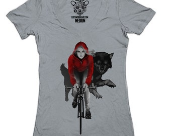 Red Riding Hood Women's Deep V-Neck Top, Bicycle, Bike Tee, T-Shirt, Available S - XXL
