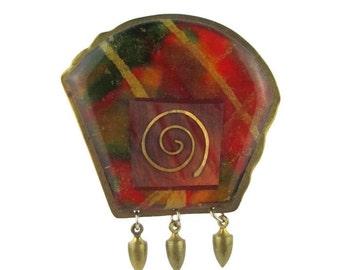 Vintage KNR Modernist  Abstract Laminated Brass Pin Brooch
