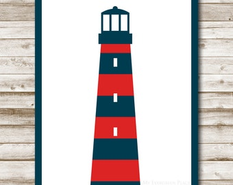 Lighthouse Printable Art Nautical Print Home Decor Beach House Decoration Coastal Decor Lighthouse Navy Red White Photography Prop