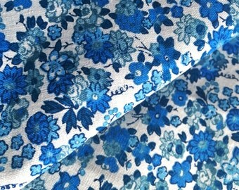 60s scandinavian vintage fabric, blue floral pattern swedish retro fabric made in sweden white with blue flowers high quality cotton