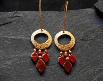 Unique chandelier earring, Long statement earrings, Gold and Red Jasper earrings, Boho chic jewelry, Red gemstone earrings, 3147G