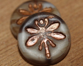Czech Dragonfly Bead 18mm - Two Tones - Light Translucent Brown Matte with Old Patina Finish: 2pc - 2365