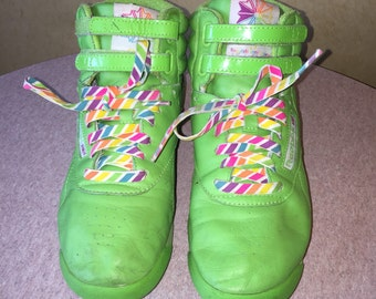 Reebok Freestyle 25 th anniversary lime green high top sneakers SUE HECK would love these!