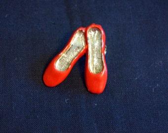 Vintage Red Shoe Brooch