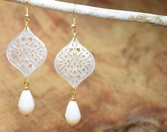 Boho earrings, Ivory earrings, Gold tone earrings, Long earrings, Dangling earrings, Resin earrings, Filigree earrings, Facet beads earrings