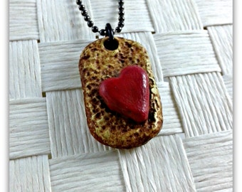 Mini Dog Tag pendant with heart, polymer clay
