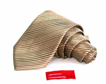 Tie (3 inch wide) in Golden Biscotti Brown Solid Tonal Stripes