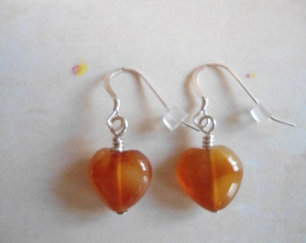 Free heart earrings with purchase of 25 Dollars USD or over: Sterling silver semi-precious gemstone heart or Lampwork heart glass earrings