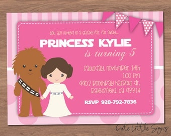 Starwars Princess Leia Birthday Invitation Digital Download