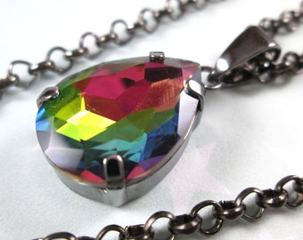 Rhinestone Crystal Necklace - Rainbow Vitrail Teardrop