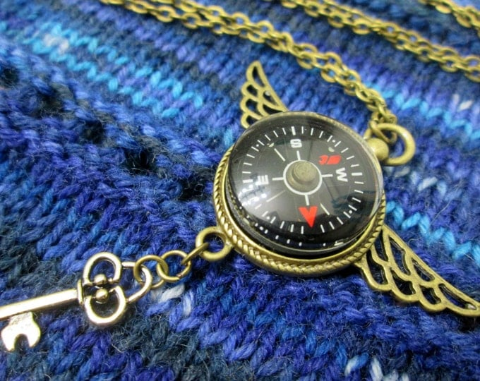 Steampunk Compass Necklace - Red Compass with Wings and Key