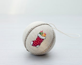 Rustic Christmas ornament, hand embroidered with cross stitch picture