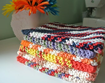 Double Thick Crochet Potholder; Finished Product; Variegated Cotton Crochet Potholder