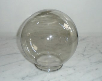 Vintage MidCentury Hollywood Regency Lightolier Shinny Smoke Colored Glass Ball Orb Globe
