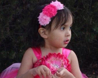Pink Rosette Headband/Shabby Valentine's Day
