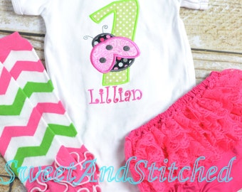 Ladybug 1st (First) Birthday Outfit  - Pink Ladybug Birthday shirt Pink and Lime Green - cupcake birthday bloomers!  Personalized ladybug