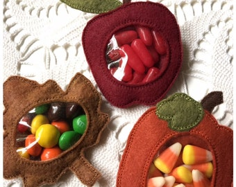 Candy Holder Machine Embroidery Reverse Applique Fall Set - Apple, Pumpkin, Maple Leaf - Machine Embroidery Instant Download Design