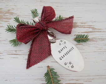 Merry Christmas hand stamped spoon ornament - country christmas - your color - stars - silver - antique vintage - rustic re-purposed holiday