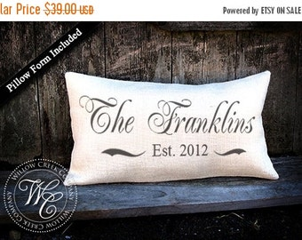 Custom Monogrammed Pillow, Personalized WEDDING Gift BURLAP PILLOW-  Pillow with Last Name & Established Date