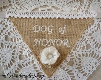 Burlap Dog Bandana, Dog of Honor, Wedding Bandana, Pet Wedding, Pet Photo Prop