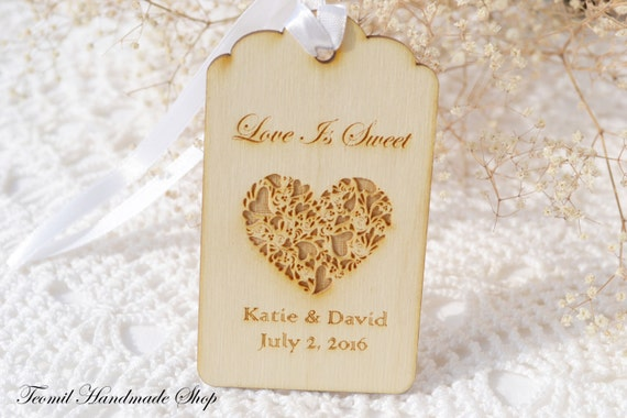 Love Is Sweet Wedding Gift Tags : Wedding Favor Tags, Love is sweet, Engraved Wedding Wood Tag, Favors ...