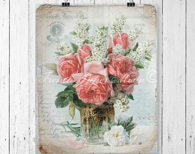 French Digital Roses Instant Download Printable, Vase of Roses Vintage French, Victorian Rose Digital Pillow Image