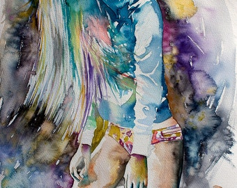 Original Watercolor Painting. Colorful portrait painting of a beautiful young dancin girl. The Rest Is Noise