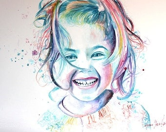 Original Watercolor Painting . Girl Portrait painting of smiling child. Love .In full range of color. Just smile wiht loves