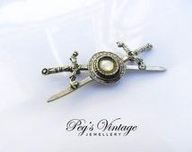 Antique Celtic / Scottish Double Sword & Shield Brooch / Celtic Knot Sword Pin, Vintage Jewelry