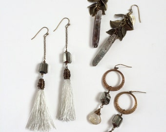 Dangle Earrings, Crystal, Pyrite, Vintage Brass, Earthy and Bohemian