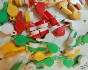 Vintage, Plastic, Tiny Whistles, Large Lot of FIFTY, Made in USA
