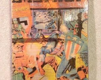 Vintage Captain America wood block print